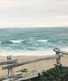Acrylic painting of an ocean scene behind a wooden fence
